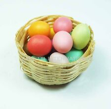 10 Dollhouse Miniature Easter Eggs in Wicker Basket * Mini Craft Food Egg