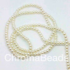 3mm Glass Faux Pearls strand - Ivory (230+ beads) jewellery making, craft