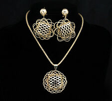 Big bold Net African Costume Gold Plated Party Necklace Earring Set