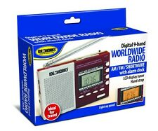 Digital Shortwave Worldwide Radio 9 Band Travel Alarm Clock Lighted LCD Tuner