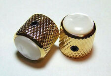 Guitar Parts METAL DOME KNOBS Knurled Barrel PEARL TOP - Set of 2 - GOLD