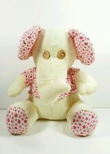 "Kellytoy Kelly Toy 9.5"" Cream Elephant with Button Eyes Flower Print Ears Plush"