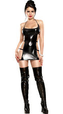 Sexy NEW PVC BLACK WET LOOK MINI FETISH BONDAGE FAUX LEATHER CLUBWEAR BDSM DRESS