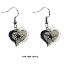 NWT Aminco NFL Dallas Cowboys Swirl Heart Shaped Earring Dangle Charm
