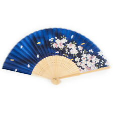 Blue Cherry Blossom Japanese Folding Fan