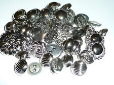 Pretty Lot of Plastic & A Few Metal Silver Colored Buttons - Flowers & Asst
