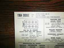 1964 Dodge EIGHT Series Models Max Perf Super Stock 426 V8 2x4BBL Tune Up Chart