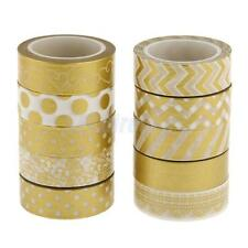 10 Gold Decorative Washi Sticky Paper Masking Adhesive Tape Scrapbooking DIY