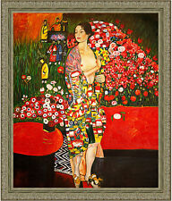 The Dancer by Gustav Klimt 85cm x 72.5cm Framed Ornate Silver