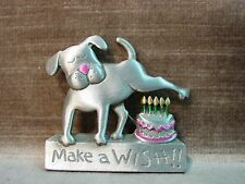"""JJ"" Jonette Jewelry Silver Pewter 'MAKE A WISH' Dog Birthday Cake Pin"