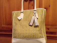 $898 COACH LEGACY WoVEN Leather CANiNG Tanner 23412 TOTE YELLOW GORGEOUS NEW