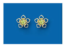 9K Yellow Gold Real Peridot Flower Stud Earrings - British Made - Hallmarked