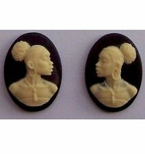 African American Cameo 18x13 Matched Pair Black Resin Cameos  615x