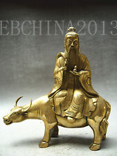 """10.4""""Chinese Taoist Culture Collection Brass Ride Cow Old Immortals Statue"""