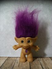 "3"" Treasure Troll - Naked - Deep Purple Hair, Purple Emerald-Shaped Jewel -Nice!"