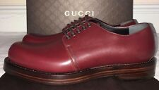 Mens Gucci Burgundy Red Leather Lace Up Shoe Size 9
