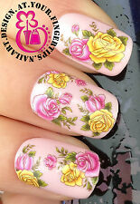 NAIL ART WRAP WATER TRANSFER DECALS BEAUTIFUL PINK/YELLOW ROSES & LEAVES #125