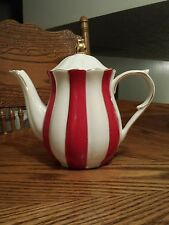 GRACE'S TEAWARE RED STRIPED TEAPOT!  NEW