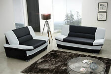 3 + 2 seater sofa black and white leather, SET