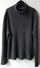 RALPH LAUREN MEN'S GREY CARDIGAN JUMPER POLO NECK SWEATER JERSEY TOP XL