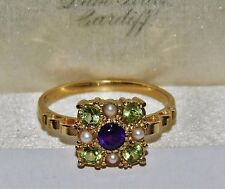 Suffragette 9ct Yellow Gold on Silver Amethyst Peridot Pearl Cluster Ring size O