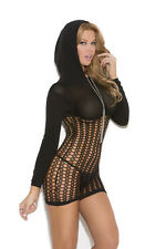 Seductive Style Crochet long sleeve mini dress with hood for You! Black One size
