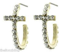 Classic Beauty Gold Cross Hoop Earrings with Crystal Bling