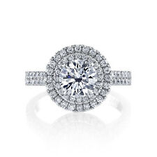 1.40 Ct. Round Cut Double Halo Micro Pave Diamond Engagement Ring GIA Certified
