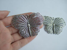 2 Large Tibetan Silver Tone Open Butterfly Filigree Charms Pendants Beads