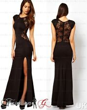 Womens Evening Dress Black Maxi Ball Gown Prom Party Formal Long Lace.Size 12 14