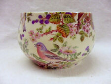 British birds chintz design open sugar bowl by Heron Cross Pottery