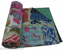 Indian Handmade Quilt Vintage Kantha Bedspread Throw Cotton Blanket Gudri Queen!