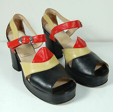 Vintage 1940s Leather Platform Shoes by Bella Studio Lob Size 36 - Peep Toe