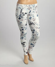 Poliana Plus White Blue Rose Sugar Skulls Leggings XL Size 14-16 Valentine Gift