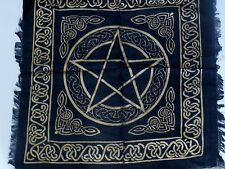 "Altar Cloth/Wiccan/Pagan/Wall Tapestry/Scarve Gold Pentacle 18"" x 18"" SCV205"