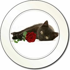 Black Kitten with Red Rose Car/Van Permit Holder/Tax Disc Gift, AC-185RT