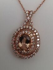 New 10K Rose Gold Oval Shape Morganite and 0.35ct Natural Diamond Pendant