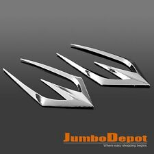 Chrome Sharp Air Flow Intake Side Vent Hood Bonnet Duct Fender Stick-On Decor X2