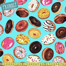 Timeless Treasures Fabric Tossed Donuts Aqua PER METRE Sweets Cake Yummy Blue Fo