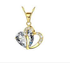 Fashion Women Heart white Crystal Rhinestone Gold Chain Pendant Necklace Jewelry