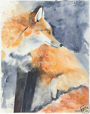 RED FOX mounted painting watercolour print R NOLAN