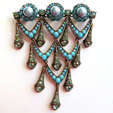 Rare JOAN RIVERS Deco Rhinestone Pearl Cabochon Turquoise Crystal Brooch Pin