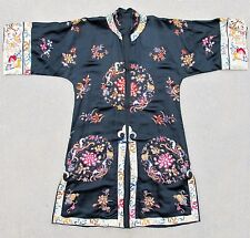 Antique or Vintage Chinese Black Silk Embroidery Robe with Forbidden Stitch