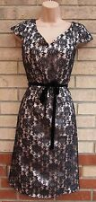 G21 BLACK FLORAL LACE VELVET BELT GOLD SLIP PENCIL PARTY TUBE BODYCON DRESS 12 M