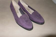 Salvatore Ferragamo 5 1/2 B light purple suede loafers flats w tassles & rubber