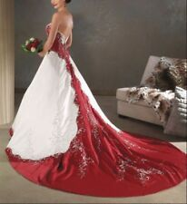 Red and White/lvory satin embroidery Wedding Dress bridal custom all size 4-28++
