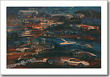 "REDUCED Corvette Race Cars 25""x17.5"" signed by artist George Bartell"