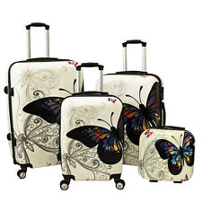 All-Seasons Butterfly 4-Piece Hardside TSA Combination Lock Spinner Luggage Set