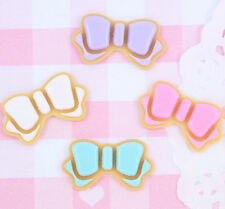 4 x Cute Iced Biscuit BOW Cabochon Embellishments DIY Decoden Kawaii Craft