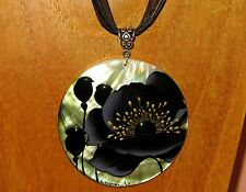 Russian hand painted SHELL PENDANT BIG BLACK POPPY FLOWER necklace Unique Gift